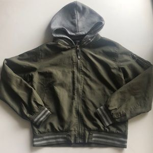 Ring of fire olive green hooded bomber jacket